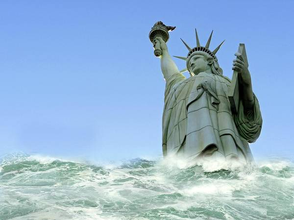 Wall Art - Photograph - Tsunami Engulfing Statue Of Liberty by Tony Craddock/science Photo Library