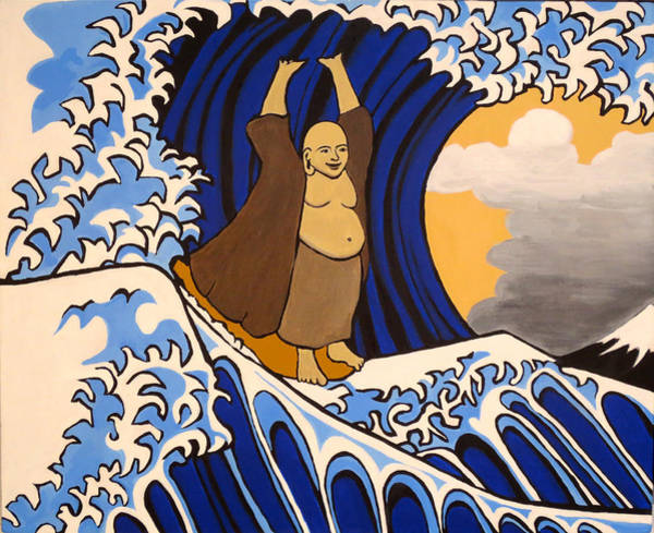 Compassion Painting - Tsunami Surfing Buddha by Nathan Winsor