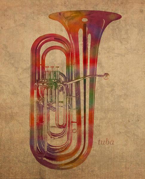 Watercolor Portrait Mixed Media - Tuba Brass Instrument Watercolor Portrait On Worn Canvas by Design Turnpike