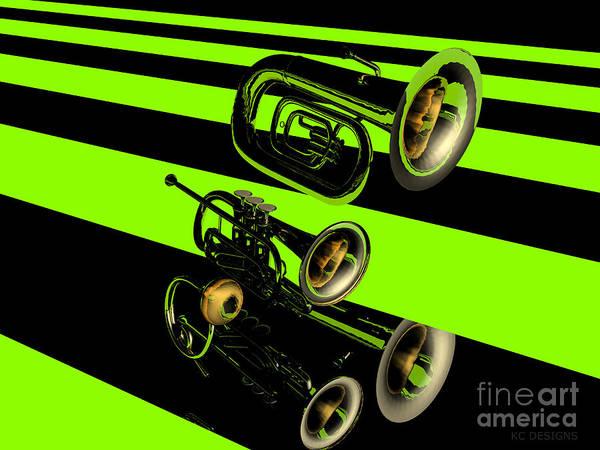 Jazz Trio Digital Art - Tuba Cornet And Horn by R Muirhead Art