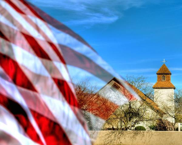Photograph - Tubac Flag And Cross 31882 by Jerry Sodorff