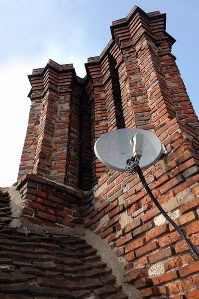Satellite Receiver Photograph - Tudor Chimneys With Satellite Dish by Cordelia Molloy