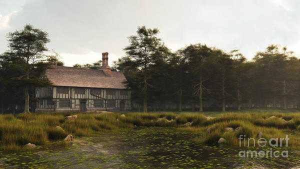 Fairy Pools Digital Art - Tudor Or Elizabethan Manor House by Fairy Fantasies