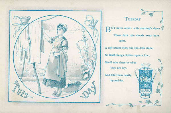 Garden Wall Drawing - Tuesday The Housemaid Hangs The by Mary Evans Picture Library