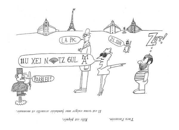 Artwork Drawing - Tuez L'assassin. Elle Est Piquee.  Il Est Venu by Saul Steinberg