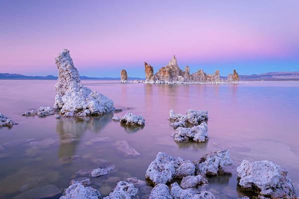 Geology Photograph - Tufa Towers On Mono Lake At Sunset by Adam Burton / Robertharding