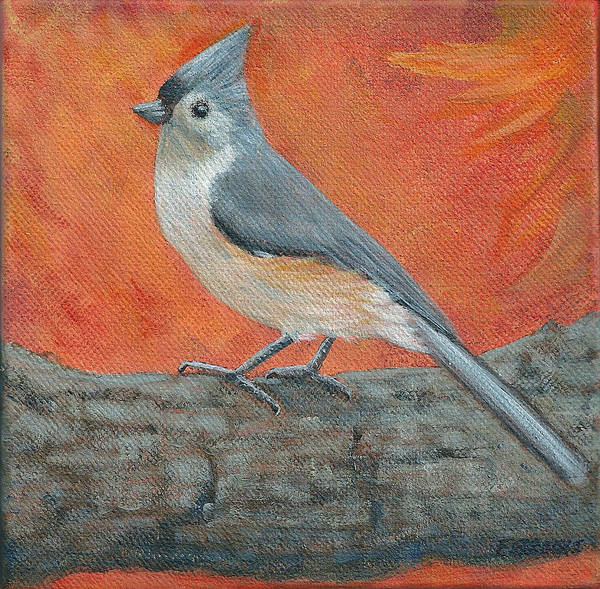 Painting - Tufted Titmouse Autumn by Fran Brooks