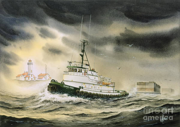 Tug Wall Art - Painting - Tugboat Agnes Foss by James Williamson