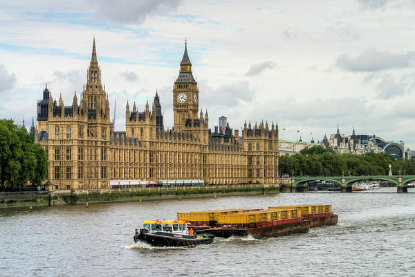 The Clock Tower Photograph - Tugboat And Parliament by Michael Lee