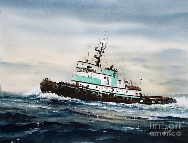 Tug Wall Art - Painting - Tugboat Island Champion by James Williamson