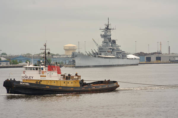 Shipmates Photograph - Tugboat Towing Past The Uss New Jersey by Berry Edwards