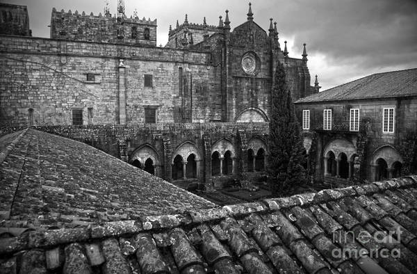Galicia Photograph - Tui Cathedral Cloister Bw by RicardMN Photography