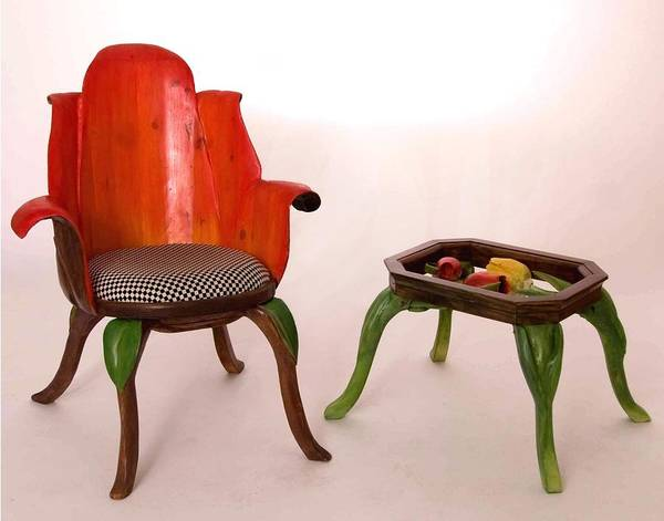 Hans Droog Wall Art - Sculpture - Tulip Chair And Table by Hans Droog