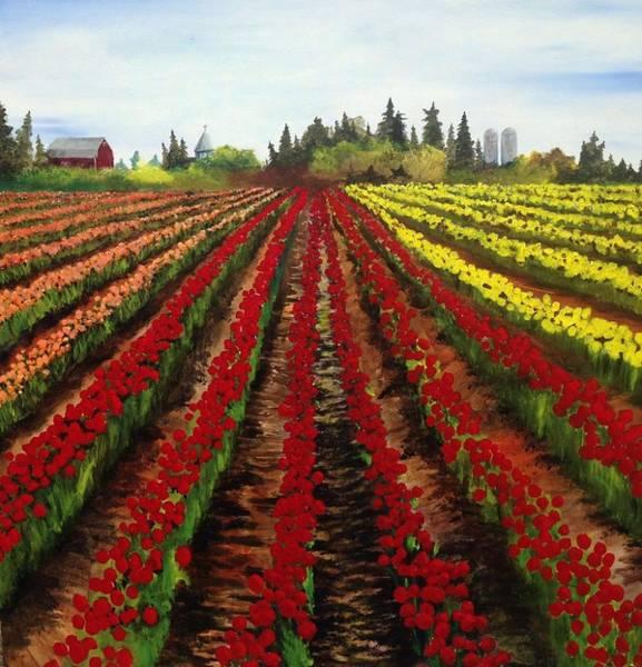 Skagit Valley Painting - Tulip Field by Tim Loughner
