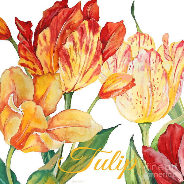 Wall Paper Painting - Tulip-jp2583 by Jean Plout