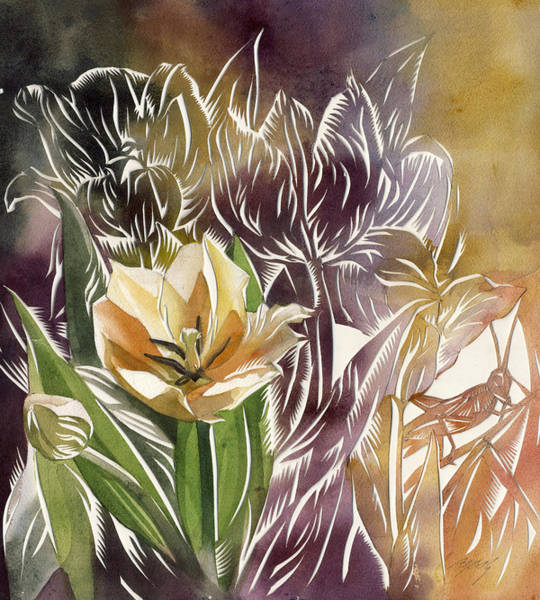Painting - Tulip With Grasshopper by Alfred Ng