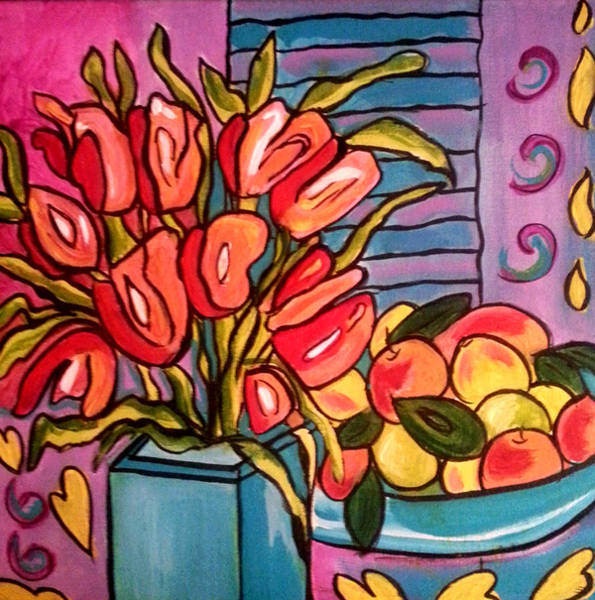 Painting - Tulips And Fruit by Nikki Dalton