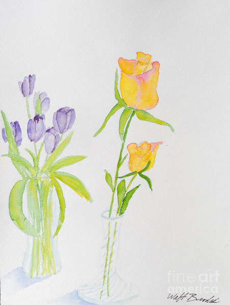 Painting - Tulips And Roses 2 by Walt Brodis
