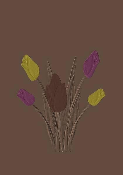 Digital Art - Tulips Design Drawing Embossed  by David Dehner
