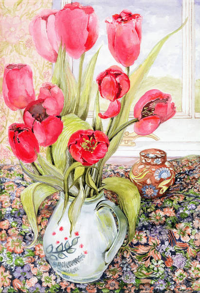 Window Frame Painting - Tulips In A Rye Jug by Joan Thewsey