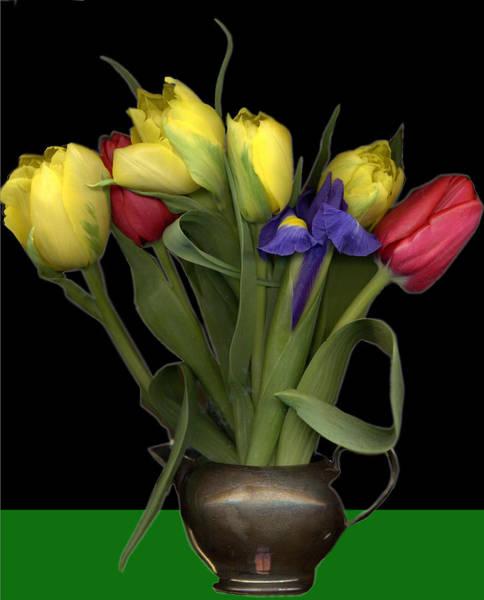 Jug Digital Art - Tulips In Pewter Vase by Margaret Hockney