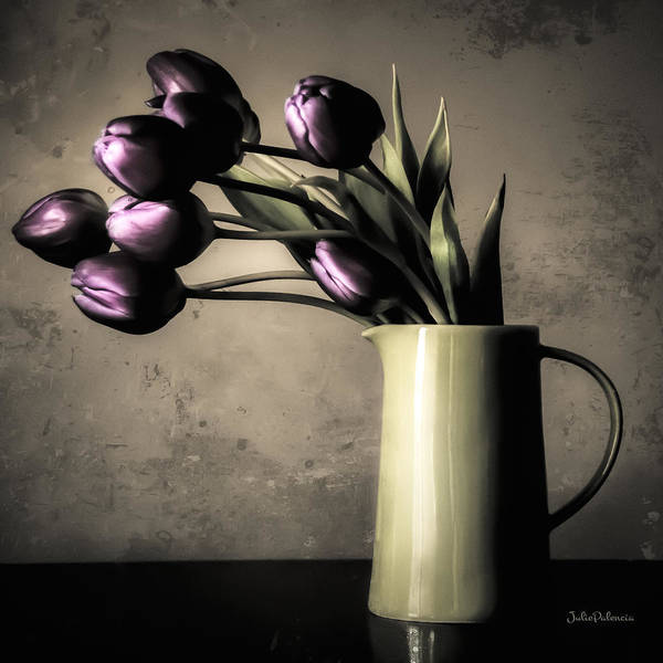 Flowers In A Vase Photograph - Tulips In The Evening Light by Julie Palencia