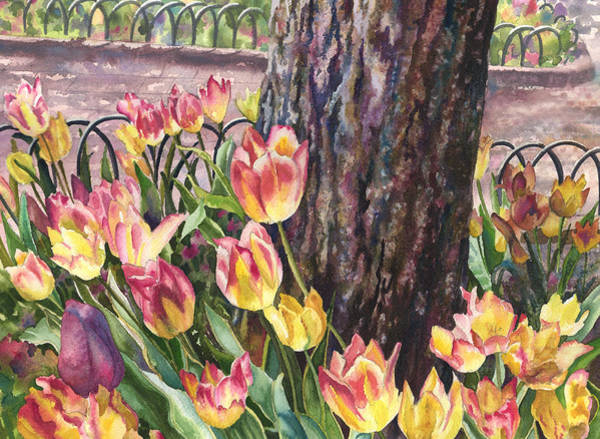 Tree Bark Wall Art - Painting - Tulips On The Mall by Anne Gifford