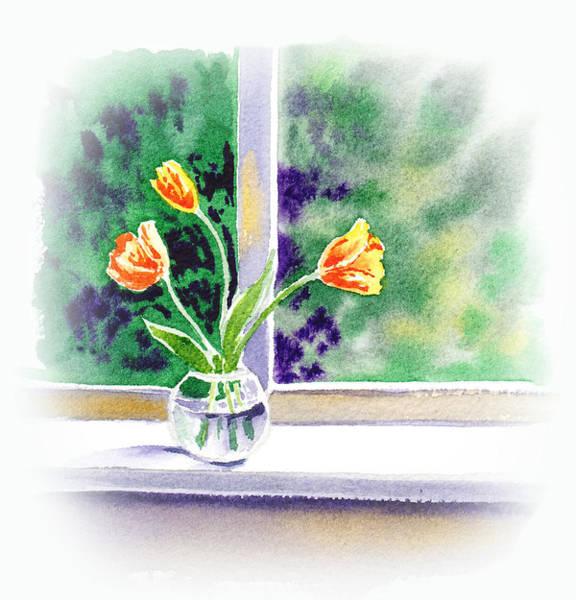 Tulip Bloom Painting - Tulips On The Window by Irina Sztukowski