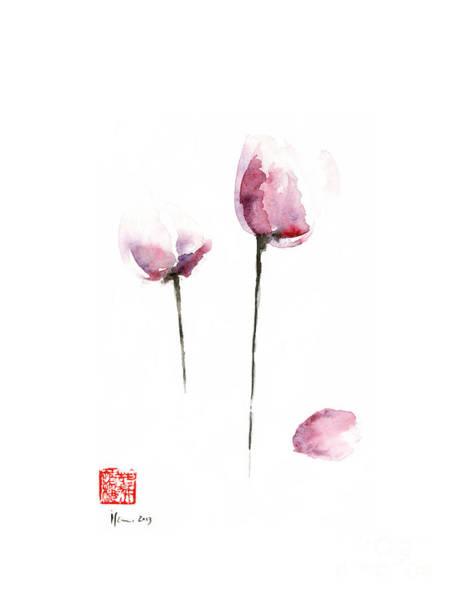 Gift Shops Painting - Tulips Purple Pink Black Grey Flowers Tulip Flower Garden Watercolor Painting by Johana Szmerdt