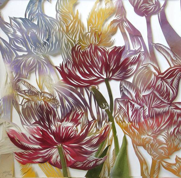 Painting - Tulips Watercolor Cut Out by Alfred Ng