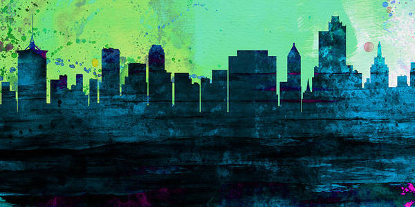 Wall Art - Painting - Tulsa City Skyline by Naxart Studio