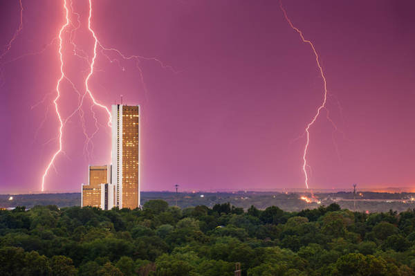 Voltage Photograph - Tulsa Lightning Storm Over Cityplex Towers by Gregory Ballos