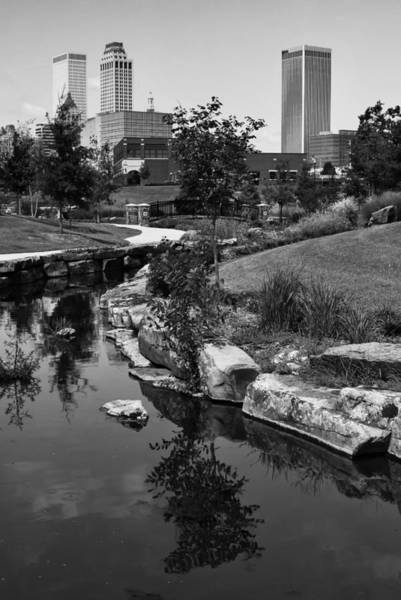 Centennial Photograph - Tulsa Oklahoma Skyline And River Black And White by Gregory Ballos