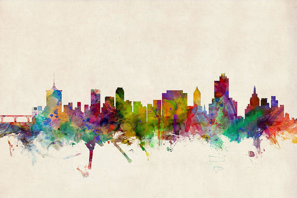 Watercolour Digital Art - Tulsa Oklahoma Skyline by Michael Tompsett
