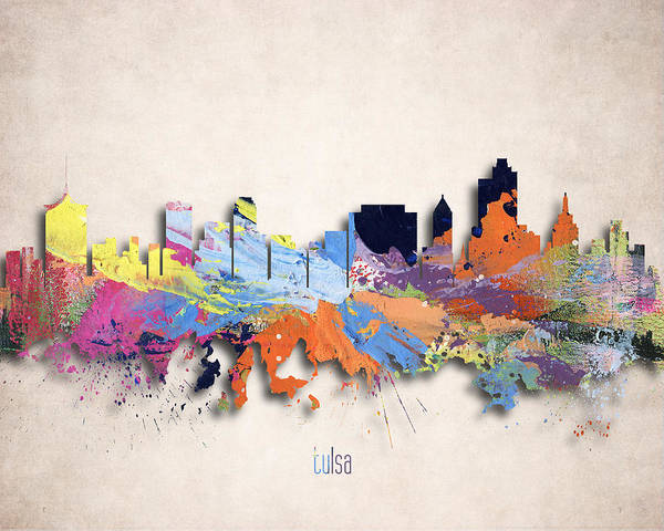 Tulsa Digital Art - Tulsa Painted City Skyline by World Art Prints And Designs