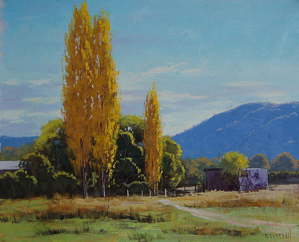 Amber Wall Art - Painting - Tumut Farm by Graham Gercken