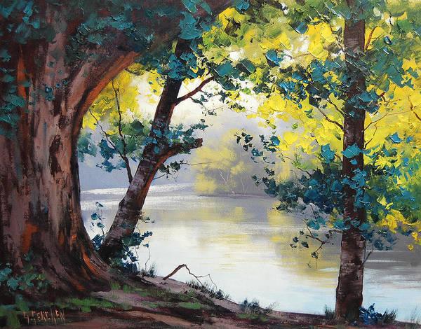 Eucalyptus Wall Art - Painting - Tumut River Australia by Graham Gercken