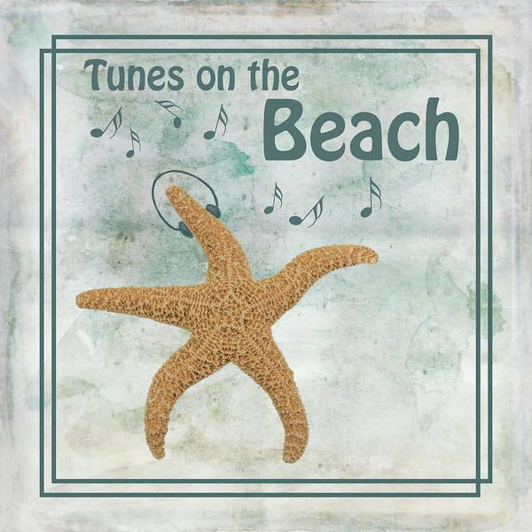 Starfish Painting - Tunes On The Beach by Ramona Murdock