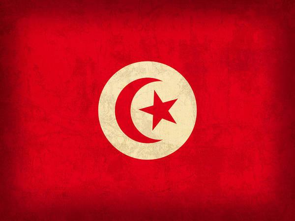 Tunisia Wall Art - Mixed Media - Tunisia Flag Vintage Distressed Finish by Design Turnpike