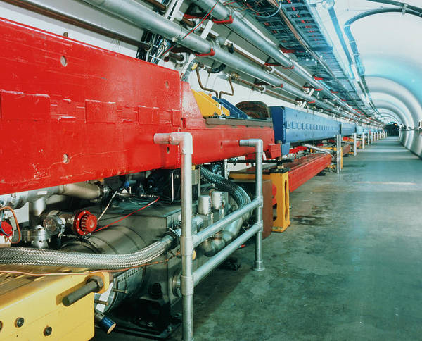 Proton Photograph - Tunnel Of Fermilab's Tevatron Accelerator by Fermilab/science Photo Library