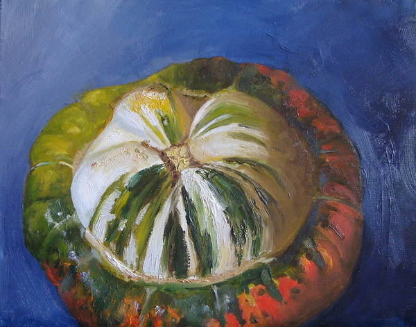Winter Squash Painting - Turban Squash On Blue And Violet by Laura Skoglund