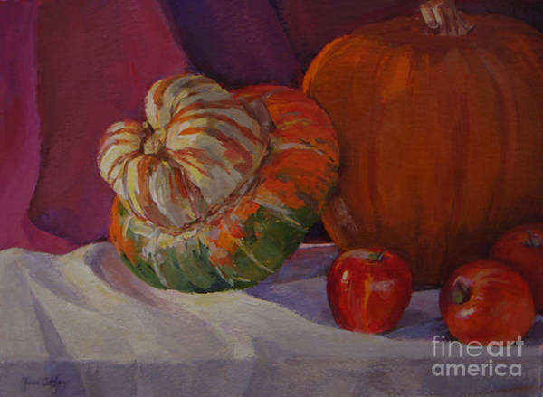 Painting - Turban Squash With Fall Friends by Joan Coffey