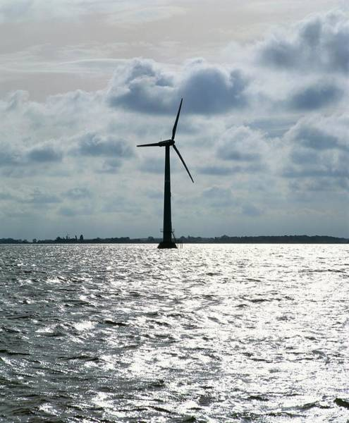 Wind Farm Photograph - Turbine At Onsveig Off-shore Wind Farm by Martin Bond/science Photo Library
