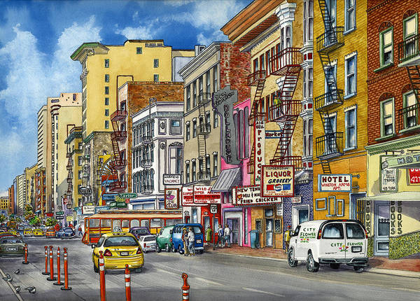 Area Painting - Turk Street San Francisco by Karen Wright