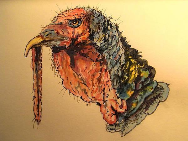 Wall Art - Painting - Turkey Head Bird by Juan  Bosco