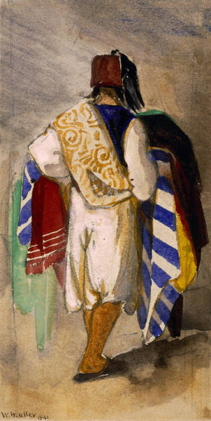 Back Drawing - Turkish Carpet Seller, 1841 by William James Muller