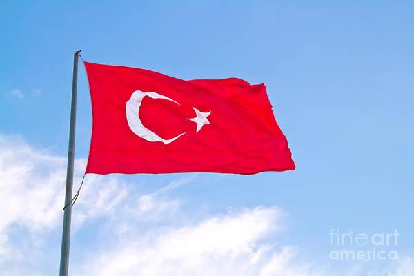 Turkiye Wall Art - Photograph - Turkish Flag Flapping In The Wind by Leyla Ismet