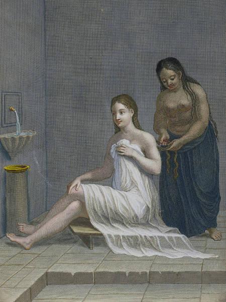 Maid Drawing - Turkish Girl, Having Her Hair Braided by Jean-Baptiste Haussard