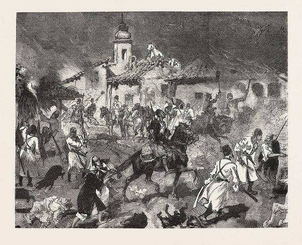 Petroleum Drawing - Turko Servia War, Arnauts And Circassians And Burning by English School
