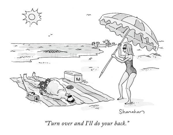 Seashore Drawing - Turn Over And I'll Do Your Back by Danny Shanahan
